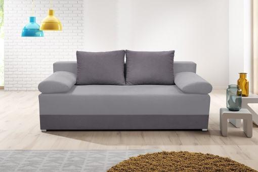 Sofá cama con cojines laterales (brazos) - Lorca. Asiento y brasos - tela gris claro, base y respaldo - tela gris oscuro