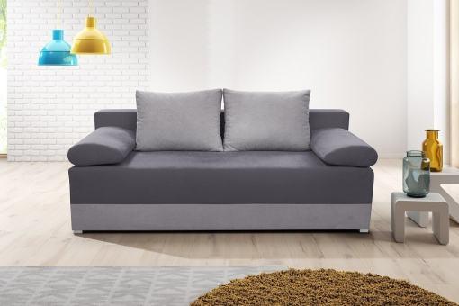 Sofá cama con cojines laterales (brazos) - Lorca. Asiento y brasos - tela gris oscuro, base y respaldo - tela gris claro