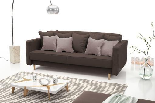 Sofá cama nórdico 3 plazas - Uppsala. Color marrón oscuro, cojines - marrón claro
