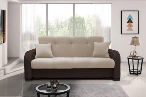 Sofá cama recto 3 plazas - Almagro. Tela marrón (brazos y base) y beige (respaldo y cojines)