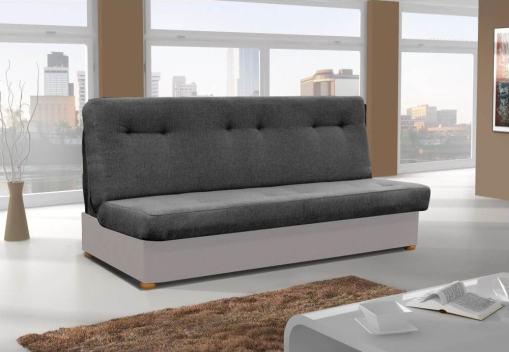 Sofá cama sin chaise longue - Alzira. Asiento y respaldo - tela gris oscuro. Base - tela gris claro