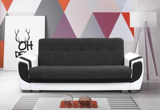 """Sofa Bed - Tarancón. Dark Grey Fabric (""""Graphite"""") Fabric and White Synthetic Leather"""