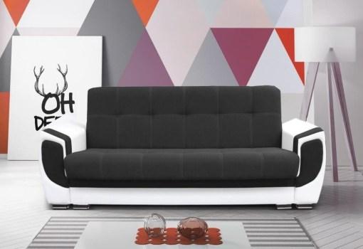 Sofá cama tapizado en tela y piel sintética - Tarancón. Tela - grafito (gris oscuro), piel sintética - blanco