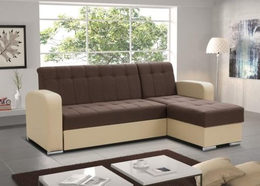 Brown / Beige Style. Brown Corner. Chaise Longue Sofa with Pull-Out Bed and Storage - Salerno