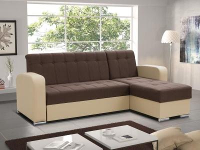 Sofá chaise longue cama con arcón marrón y beige. Chaise longue lado derecho - Salerno