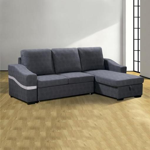 Sofá chaise longue convertible en cama con arcón. Tela gris. Chaise longue lado derecho - Santander