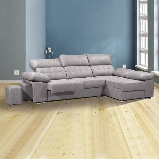 Sofá chaiselongue con asientos extraíbles, arcón y reposacabezas reclinables. Chaiselongue derecha, color gris (cemento) - Granada