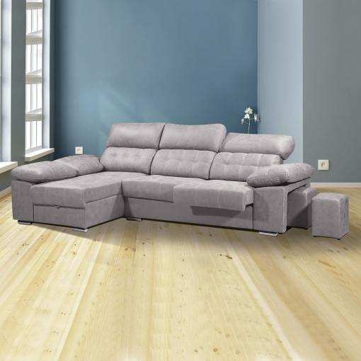 Chaise Longue Sofa with Storage, Sliding Seats and Reclining Headrests - Granada. Grey Colour (Cemento), Left Corner