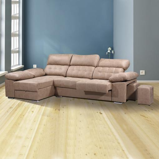 Chaise Longue Sofa with Storage, Sliding Seats and Reclining Headrests - Granada. Brown colour (piedra), left corner