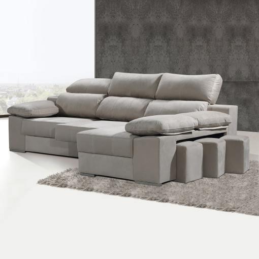 Sofá cheslón con asientos extraíbles y reposacabezas reclinables - Seville. Cheslón lado derecho, color beige