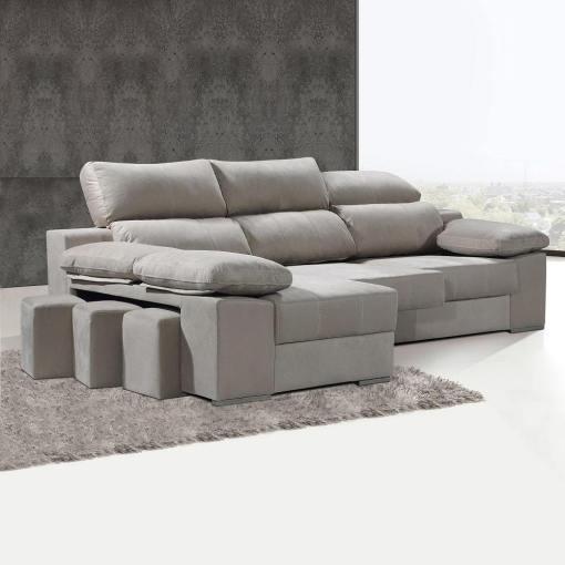 Sofá cheslón con asientos extraíbles y reposacabezas reclinables - Seville. Cheslón lado izquierdo, color beige