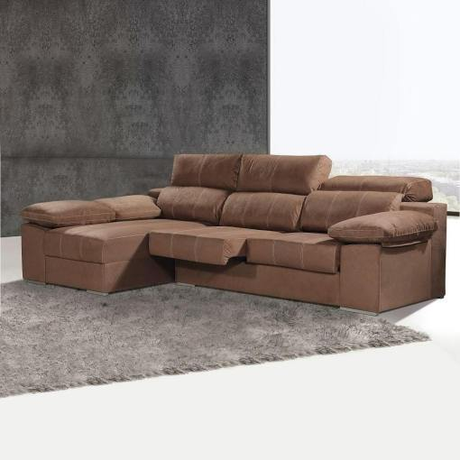 Chaise Longue Sofa with Sliding Seats and Reclining Headrests - Seville. Left Corner, Brown (Chocolate) Colour