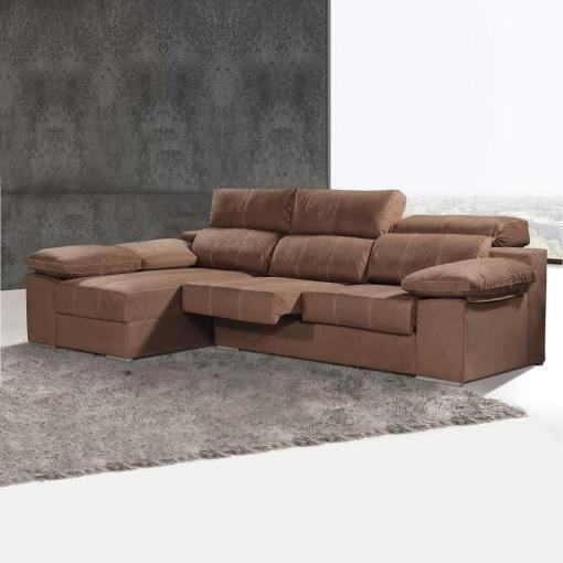 Sofá cheslón con asientos extraíbles y reposacabezas reclinables - Seville. Cheslón lado izquierdo, color marrón (chocolate)