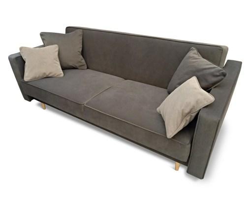 Vista con cuatro cojines. Sofá cama nórdico 3 plazas - Uppsala