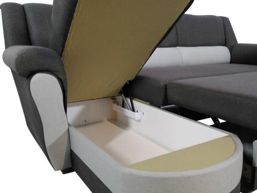 Arcón para ropa de cama. Sofá chaise longue cama alto respaldo - Parma