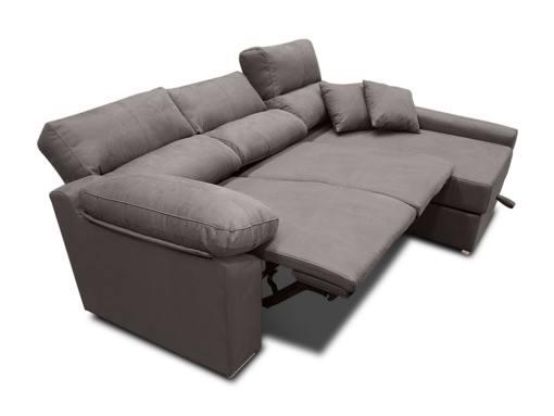Asientos motorizados modo abierto. Sofá chaise longue eléctrico (derecho) - Valencia. Color gris (plomo)