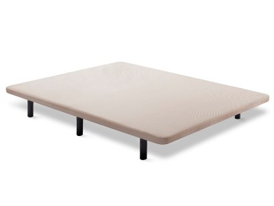 Upholstered bed base 150 x 190 cm, beige fabric, with 6 legs - Bazio