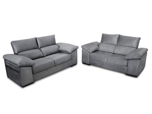 Conjunto de sofás 3 plazas, 2 plazas, pufs en brazo - Toledo. Color gris