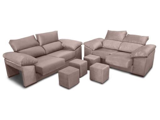 Conjunto de sofás 3+2, asientos deslizantes, respaldos reclinables y 4 pufs - Toledo. Color beige