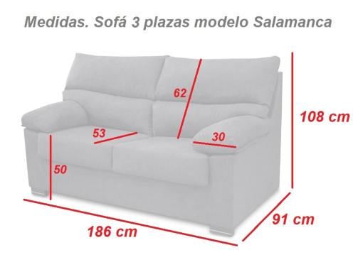 Medidas. Sofá 3 plazas económico modelo Salamanca