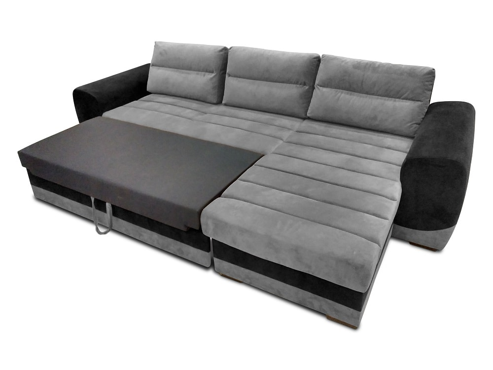 Amazing Chaise Longue Sofa With Pull Out Bed Upholstered In Grey And Black Fabrics Cayman Ibusinesslaw Wood Chair Design Ideas Ibusinesslaworg