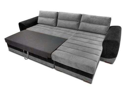 Modo cama. Sofá chaise longue en tela gris y negro - Cayman
