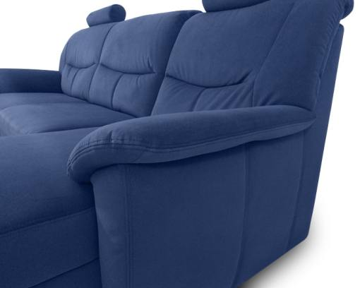 Reposabrazos. Sofá azul con chaise longue - Claudia