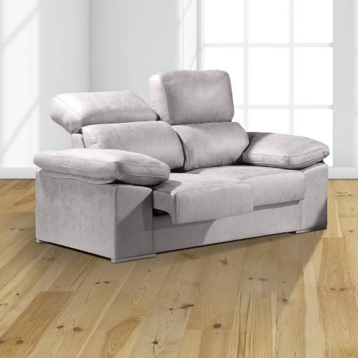Sofá 2 plazas con asientos deslizantes y respaldos reclinables - Toledo. Color gris claro (cemento)
