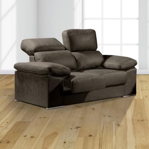 Sofá 2 plazas con asientos deslizantes y respaldos reclinables - Toledo. Color gris oscuro (plomo)