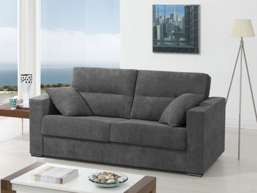 Sofá cama italiana (apertura, sistema italiana). Tela gris oscuro - modelo Madrid