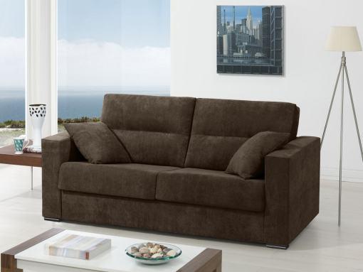 Sofá cama italiana (apertura, sistema italiana). Tela marrón (chocolate) - Madrid