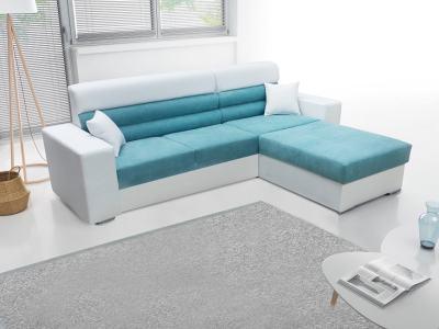 Sofá chaise longue con arcón - Montpellier. Tela azul, polipiel blanca. Chaiselong derecha