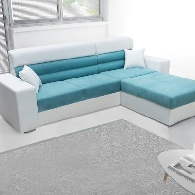 Chaise Longue Sofa Bed with Storage - Montpellier. Blue Soft Fabric, White Faux Leather. Right Corner