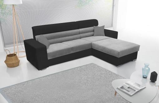 Sofá chaise longue con arcón - Montpellier. Tela gris y negra. Chaiselong derecha
