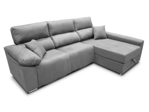 Sofá chaise longue (derecha) relax eléctrico 2 asientos motorizados - Valencia. Tela antimanchas gris claro (plata)