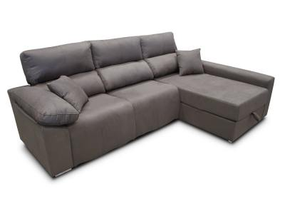 Electric recliner chaise longue sofa (2 motors) - Valencia. Right side chaise longue. Grey fabric