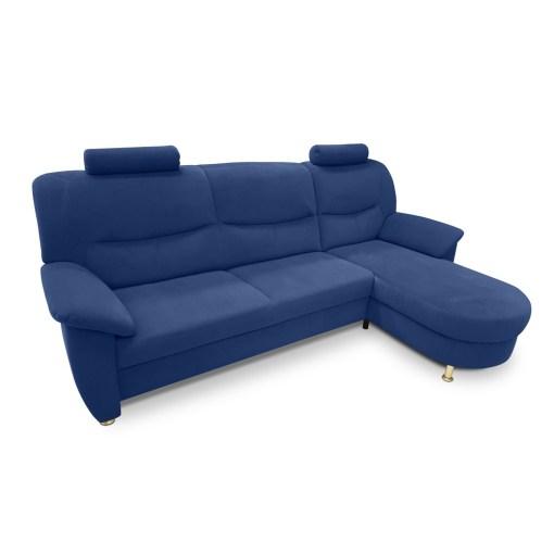 Sofá chaise longue tapizado en tela antimanchas de color azul - Claudia