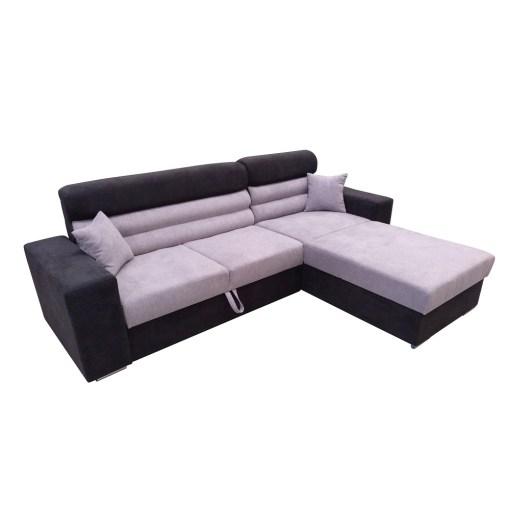 Sofá cheslong cama con arcón - Montpellier. Cheslong lado derecho. Tela microfibra gris y negro
