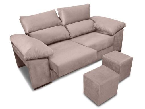 Sofá 3 plazas con asientos deslizantes, respaldos reclinables, 2 pufs - Toledo. Tela antimanchas beige