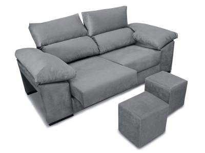 3 seater sofa with sliding seats, reclining backrests, 2 poufs - Toledo. Grey fabric