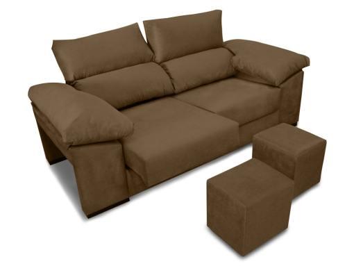 Sofá 3 plazas con asientos deslizantes, respaldos reclinables, 2 pufs - Toledo. Tela antimanchas marrón (chocolate)