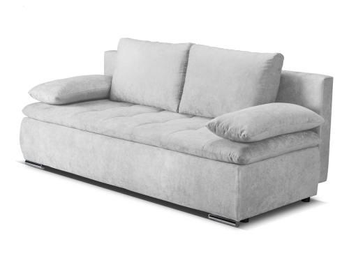 Sofá cama con cojines laterales (brazos) - Lorca. Tela gris claro