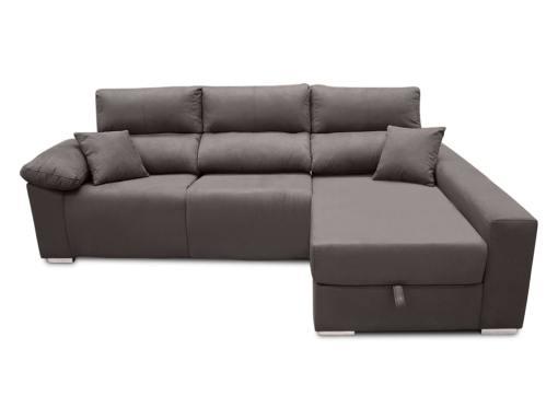 Vista frontal. Sofá chaise longue eléctrico 2 asientos motorizados - Valencia. Color gris (plomo). Lado derecho