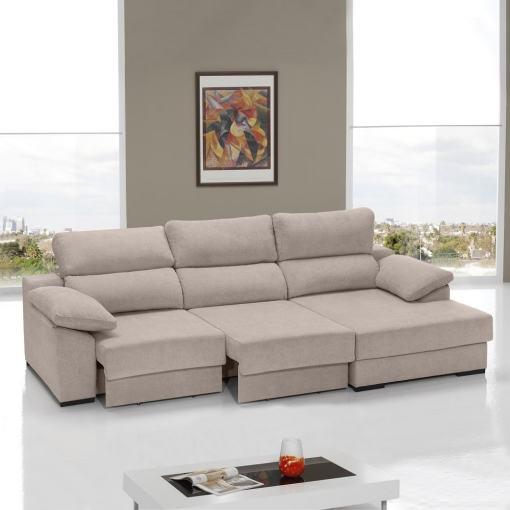 Sofá cama con asientos deslizantes color camel (beige). Chaise longue lado derecho - Alicante