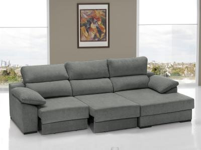 Chaise Longue Sofa Bed with Sliding Seats - Alicante. Right Hand Chaise. Grey Fabric