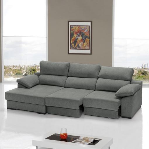 Sofá cama con asientos deslizantes color gris. Chaise longue lado izquierdo - Alicante