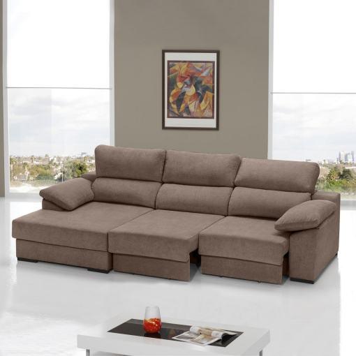 Sofá cama con asientos deslizantes color marrón. Chaise longue lado izquierdo - Alicante