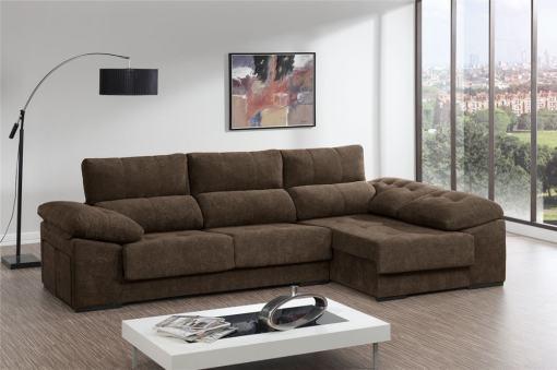 Sofá chaiselongue con asientos deslizantes, arcón y 2 pufs - Murcia. Color marrón. Chaiselongue lado derecho