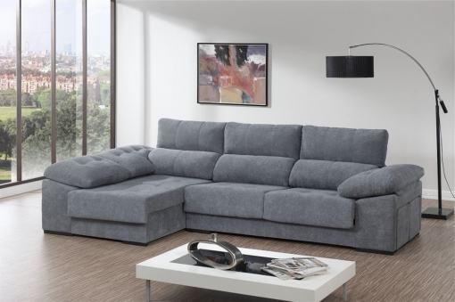Sofá chaiselongue con asientos deslizantes, arcón y 2 pufs - Murcia. Tela gris. Chaiselongue lado izquierdo