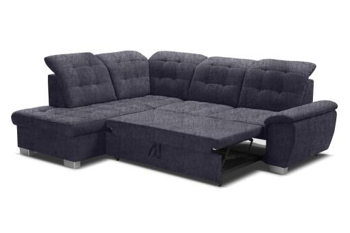 Cama extraíble 125 x 186 cm. Sofá rinconera alto respaldo, con arcón y reposacabezas reclinables - Hamilton